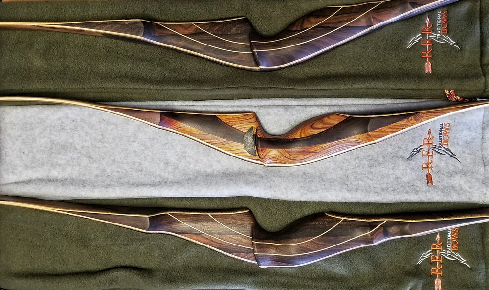 Each RER Bow comes with: - • A custom hand-made fleece bow sleeve for it's protection, travel and storage.• A bowstring, custom sized for each bow.• The RER Bows Three-Year Limited Warranty