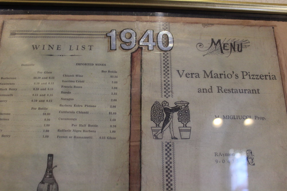 A menu from when Mario's reopened as restaurant as well as a pizzeria