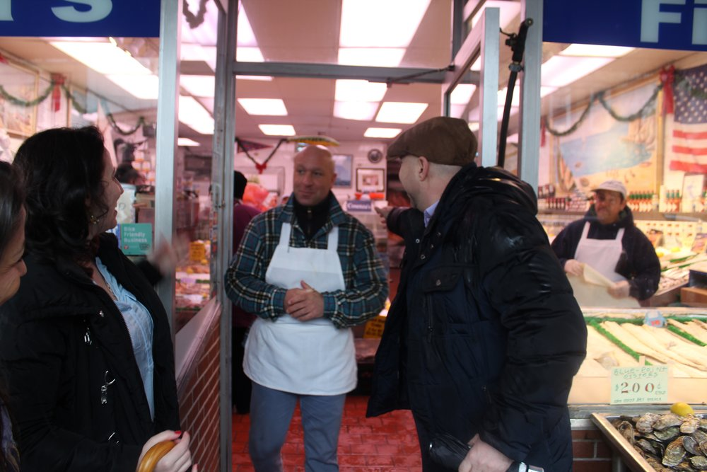 John Cosenza comes to say greet our guests on an Arthur Avenue food tour.