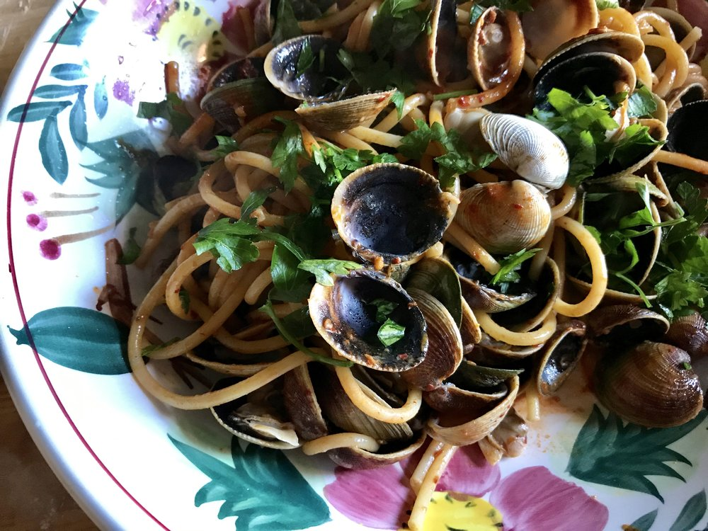 Spaghetti with clams and nduja
