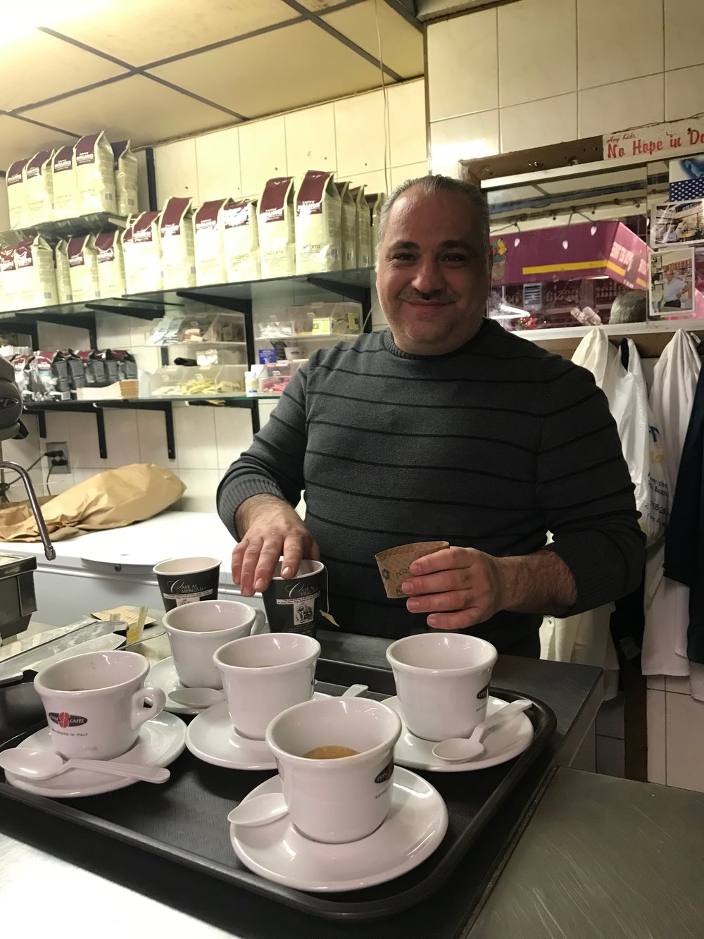 Ralph Esposito makes cappuccino for our tour guests on a cold winter morning.