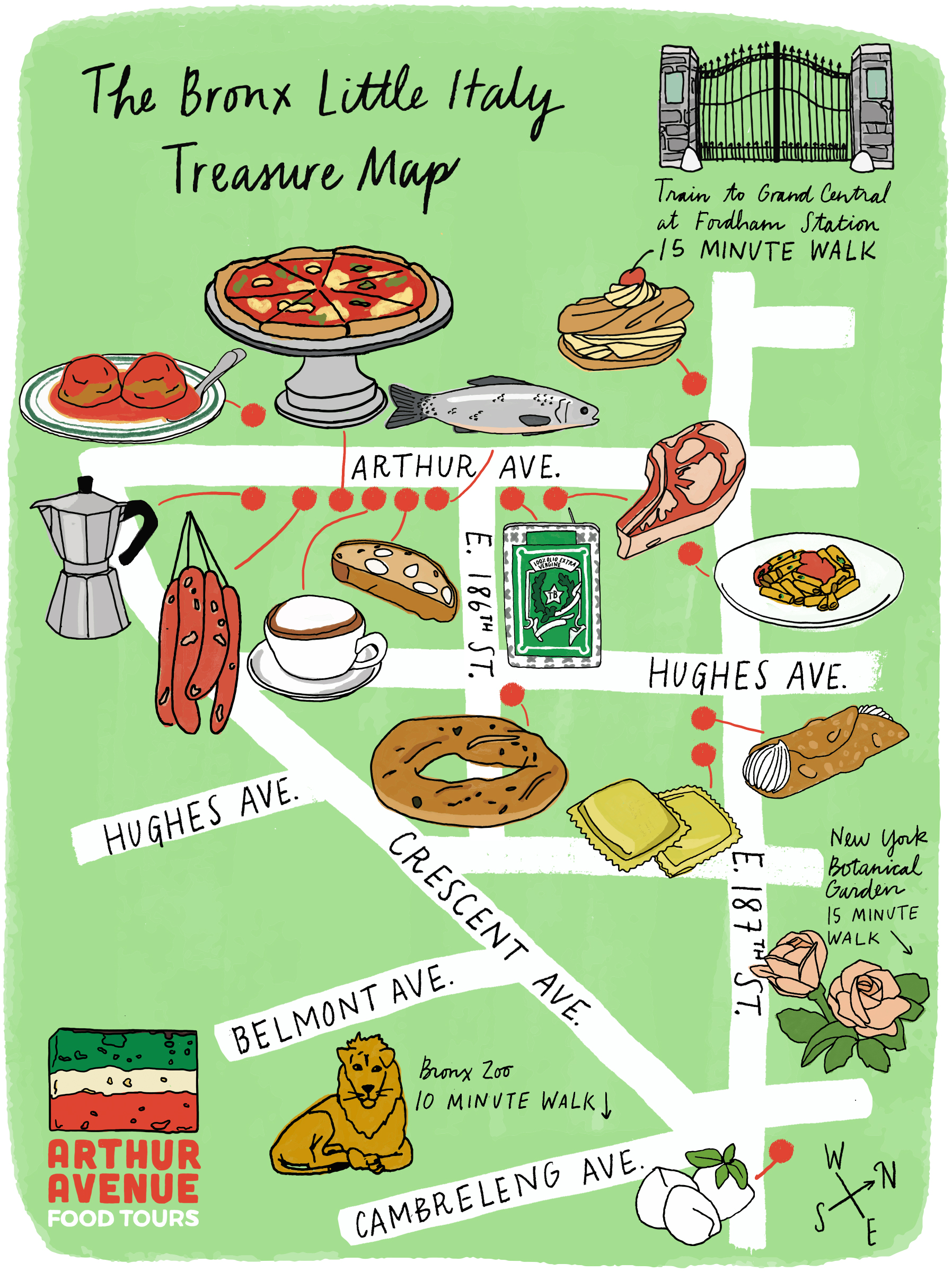 Bronx Little Italy Treasure Map Arthur Avenue Food Tours