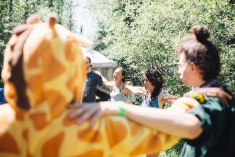 Connection is key to growth. Here, at our Frog Fest workshop in 2017, our group chose to close the circle with physical conncetion, discussion, and laughter.