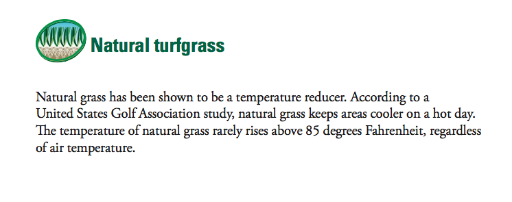 Source: A Guide to Synthetic and Natural Turfgrass for Sports Fields, 3rd Edition (Sports Turf Managers Association) (p.13)