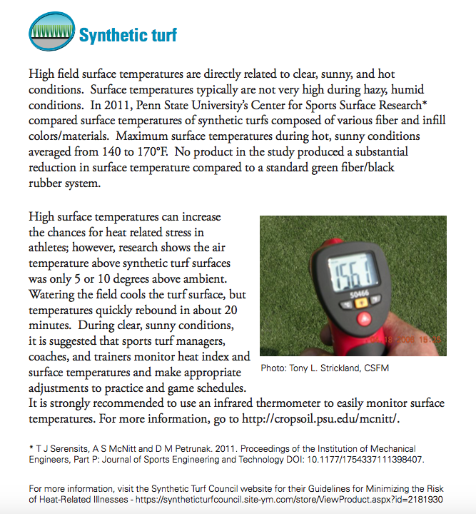 Source:  A Guide to Synthetic and Natural Turfgrass for Sports Fields, 3rd Edition (Sports Turf Managers Association)  (p. 12)