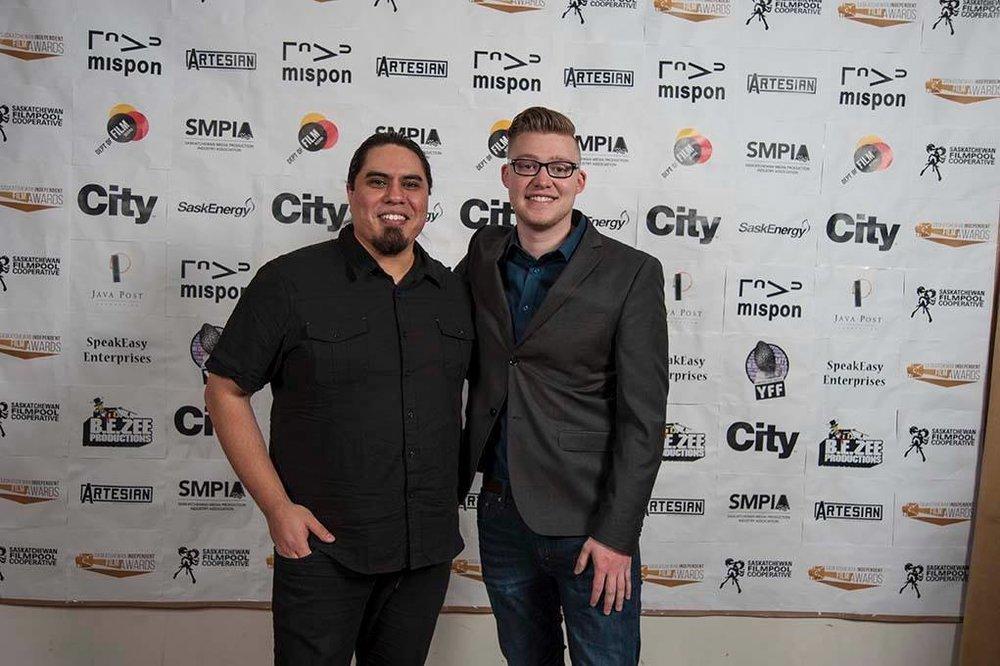 2016 Saskatchewan Independent Film Awards. David Roman L, Jason Rister R