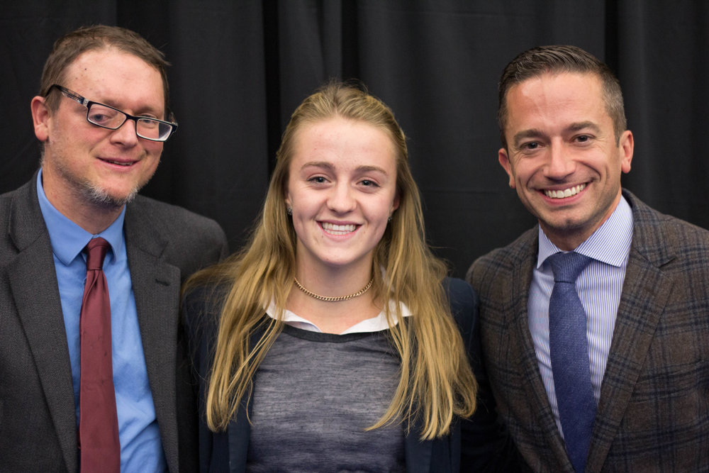 Haley Harkness '19 with Mr. Matt Buchanan (left) and Mr. Adam Kronk at the Poetry Out Loud and Speech Contest in 2017.