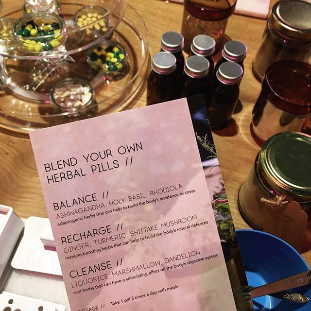 A spoon full of sugar... Last night we had so much fun showing folks how to blend herbal powders to make their own pills as part of an event with @heaps_stacks &  @d_and_ad 💊 Herbal capsules are a great remedy to have to hand for times when you are busy and need a quick and easy way to take herbs. 💊 For the event we created three blends to try out. Here are the ingredients for the BALANCE blend: . . 🌿Holy Basil - an anti-oxidant rich herb that is regarded as an elixir of life in Ayurvedic medicine . 🌿Rhodiola - an anti-depressant that can aid memory, mental clarity and reduce stress . 🌿Ashwagandha root - a restorative tonic that can be helpful for over-work, sleep problems and fatigue . All of these herbs are adaptogens which means they work to create balance in the body by adapting to what your body needs. They can be used to support the adrenal system, balance hormones and help us respond to and cope with different stressors. 🌿💊