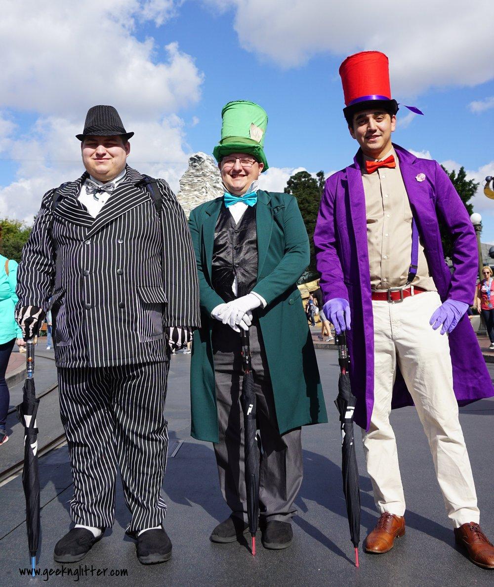 Left to right: Jack Skellington, Mad Hatter, and Aladdin