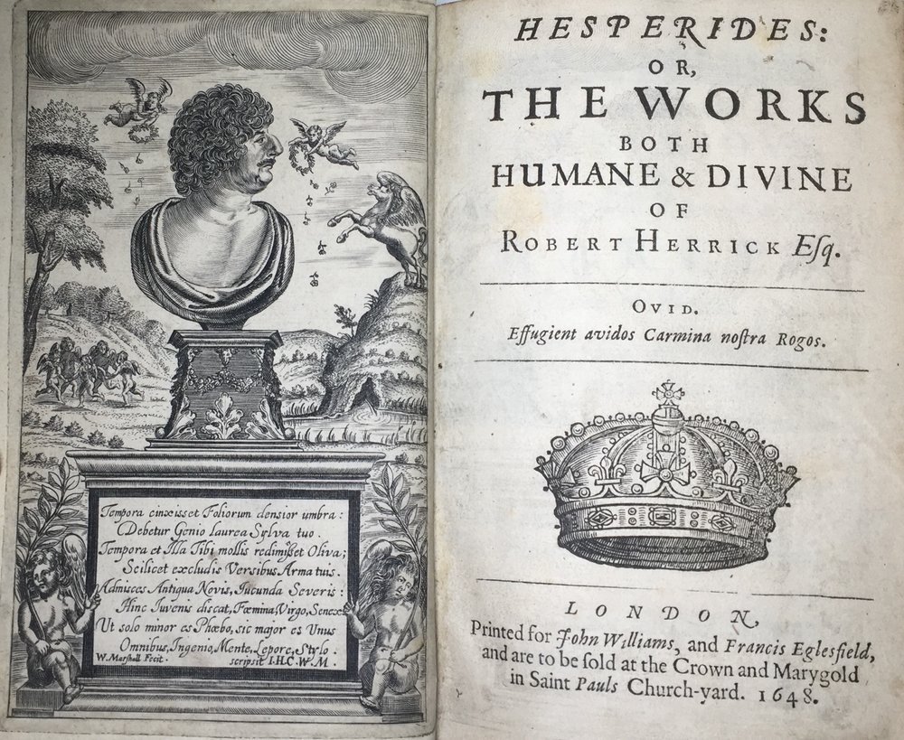 Frontispiece and title page of Robert Herrick's  Hesperides,  London, 1648.