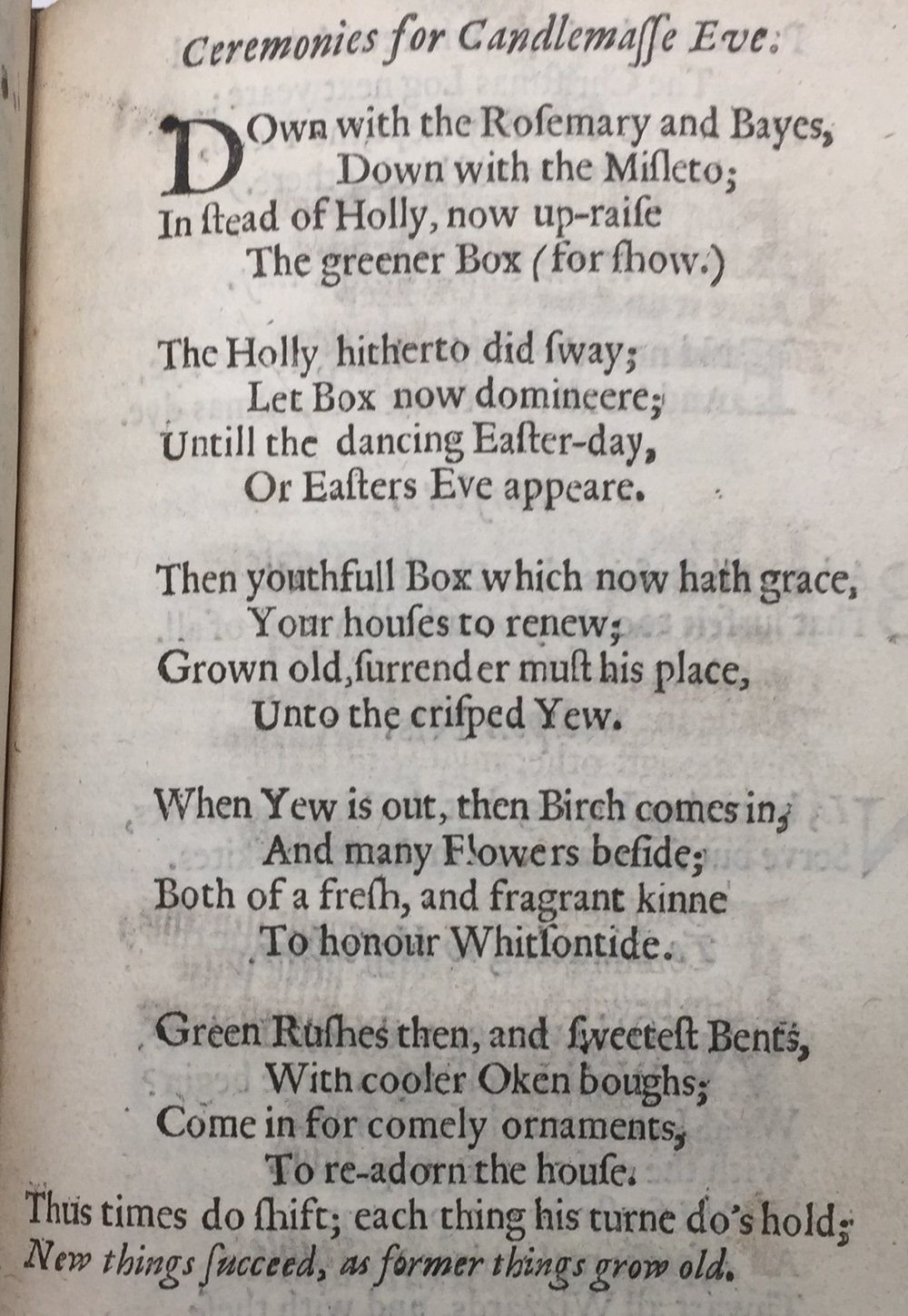 From  Hesperides , London: Printed for John Williams, and Francis Eglesfield, and are to be sold at the Crown and Marygold in Saint Pauls Church-Yard, 1648. p. 337