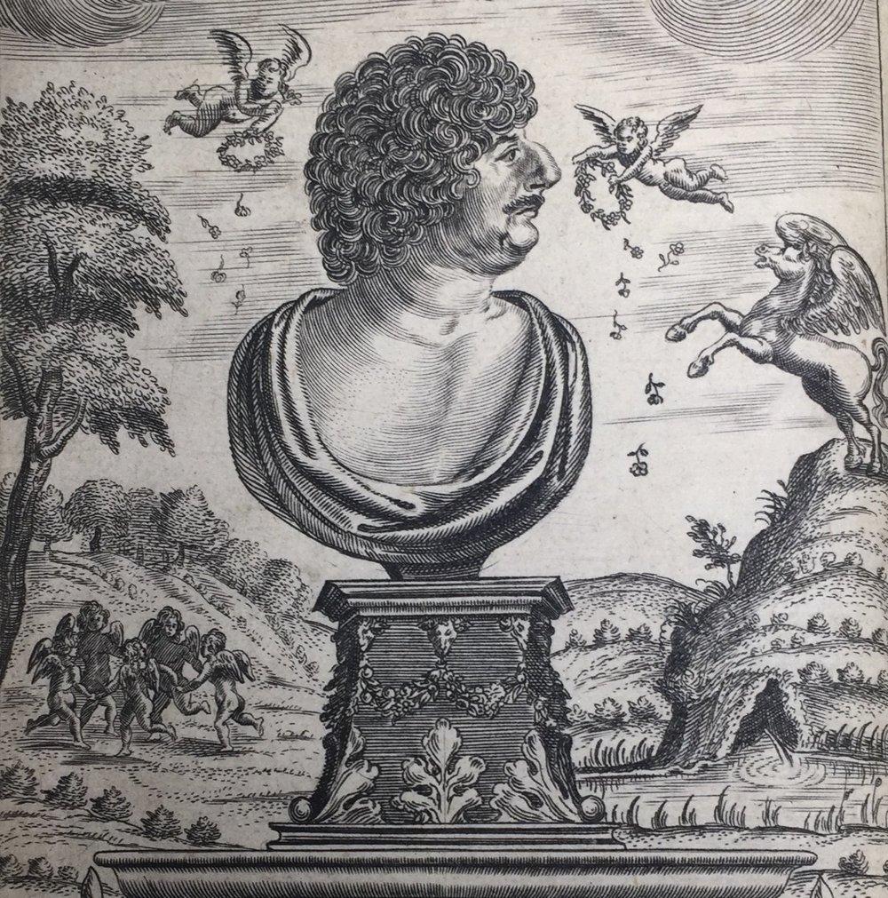 Robert Herrick's  Hesperides,  London, 1648. Frontispiece detail.
