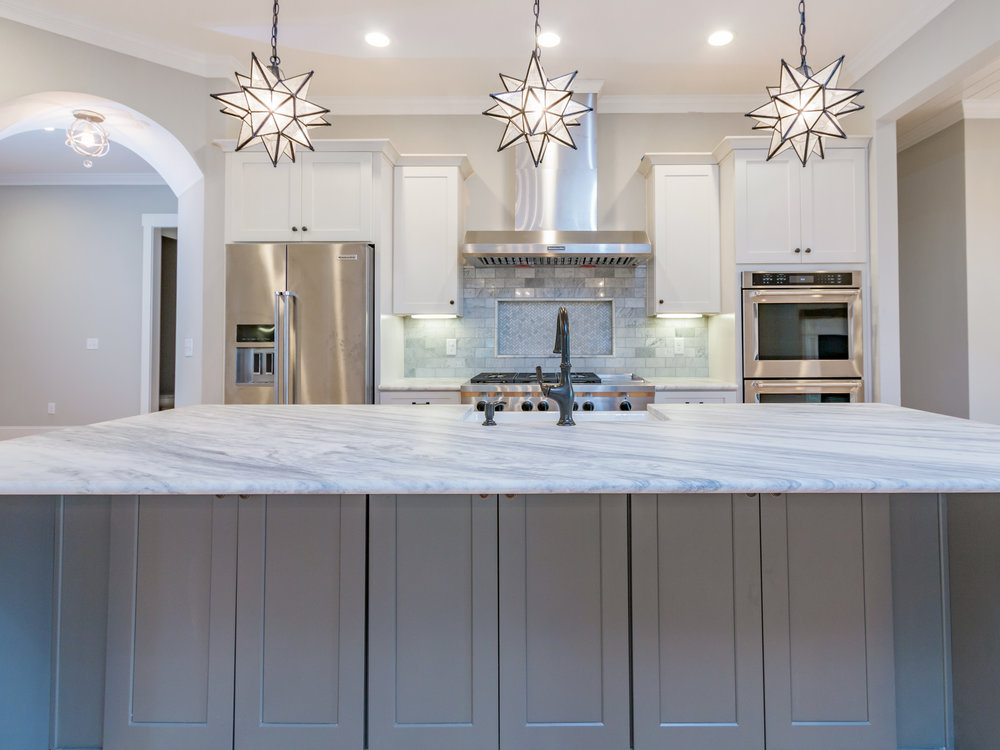 Farmhouse Style Brazilian Marble Kitchen