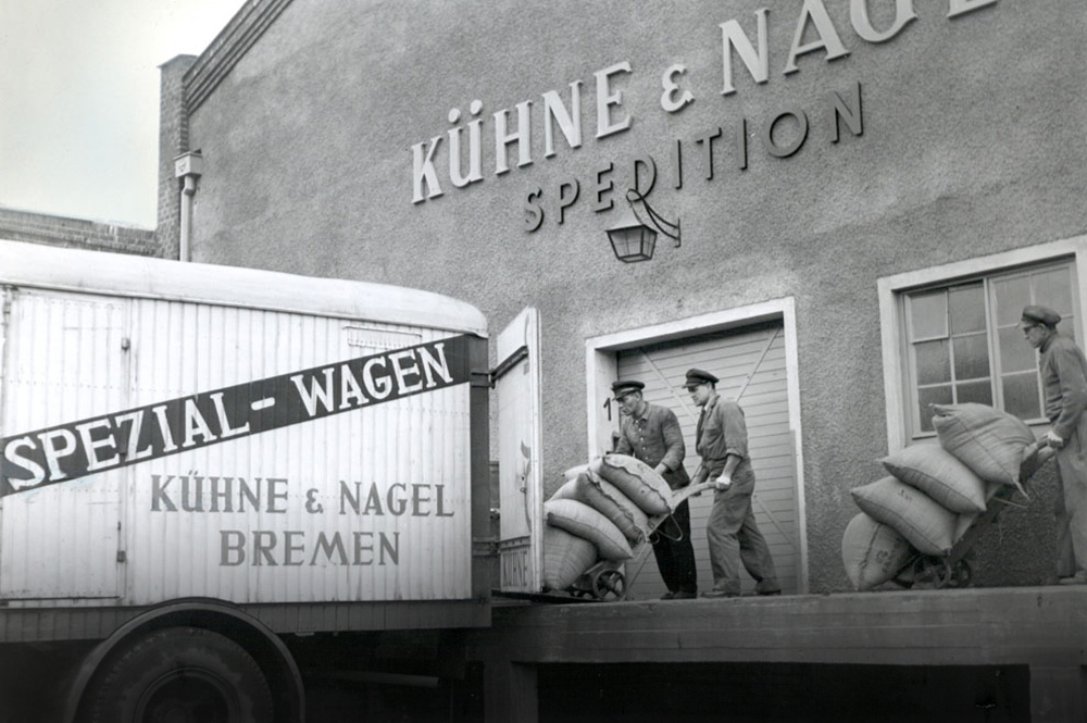 Kuehne + Nagel is a 125-year-old global logistics company that operates in more than 100 countries with 69,000-plus employees. Here, goods are loaded into a truck at the Port of Bremen, where the German company was born.  Photo courtesy of Kuehne + Nagel International AG.