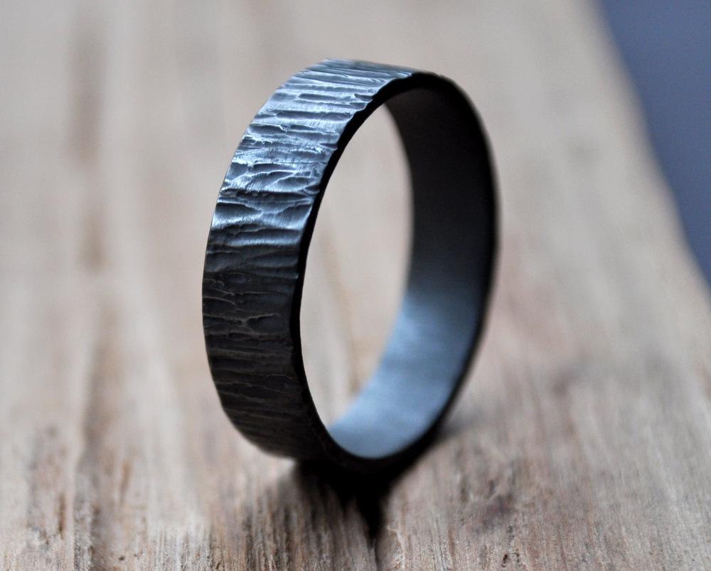 Handmadebizplanner.com-Epheriell-Oxidised 6mm Bark Ring - Mens Wedding Ring