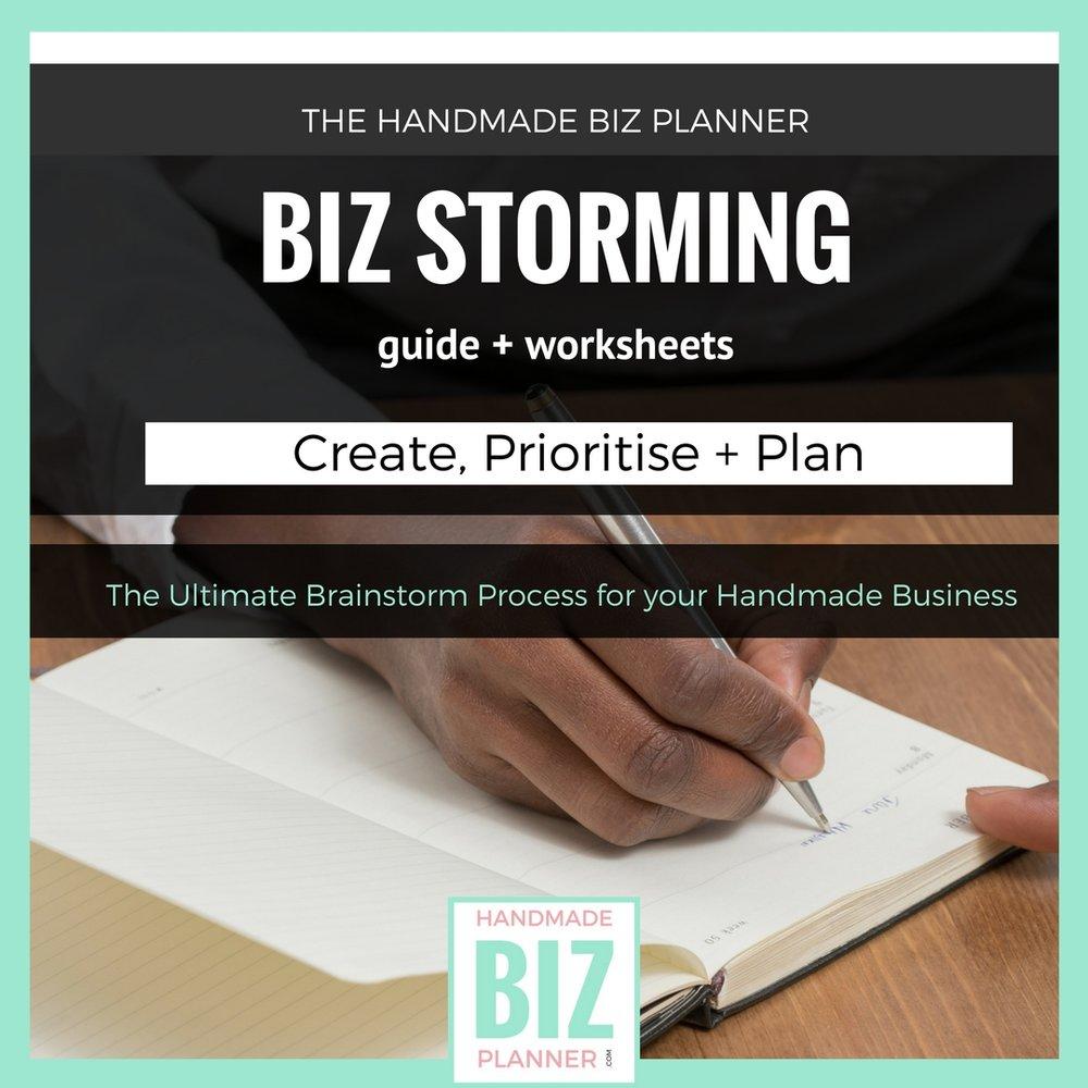 Handmade Biz Planner Biz Storming workbook