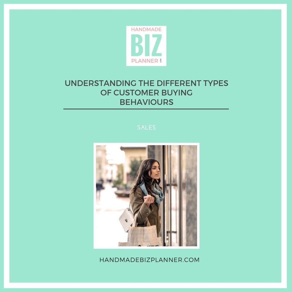 Handmade Business Planner - Understanding the different types of customer buying behaviours