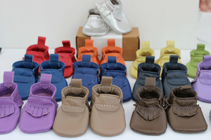 Mally Designs - leather baby bibs, & moccasins