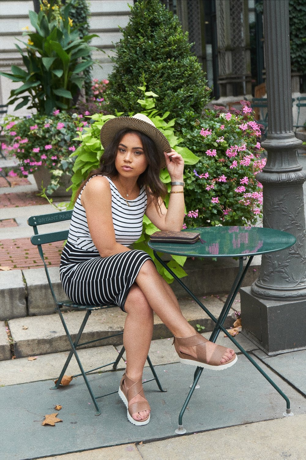 STYLING A FEDORA HAT WITH A STRIPE DRESS