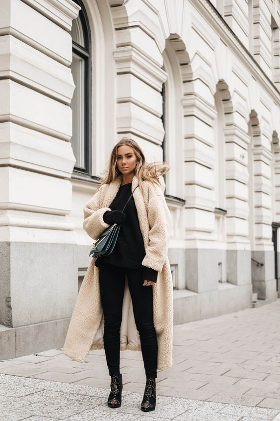 Let the teddy coat be the statement and wear this with basics.