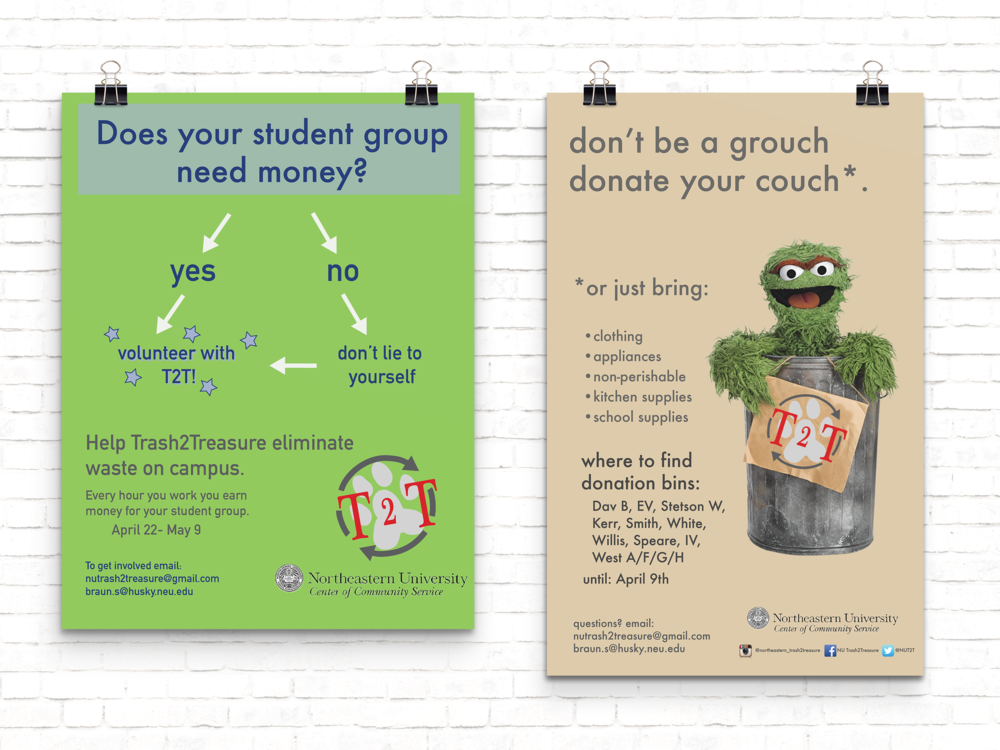 :posters for Trash2Treausre, a student organization on campus
