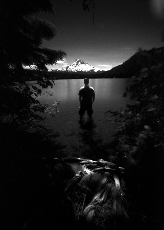 Self-portrait, Mt. Hood, 300 seconds.  Zero Image 6x9 pinhole.