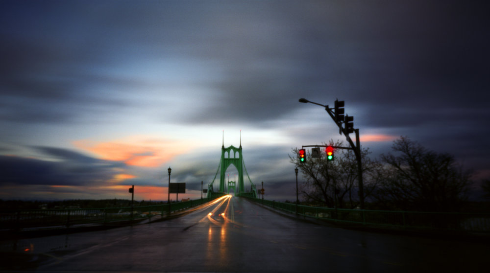 Traffic and the St. Johns Bridge, 90 seconds, Zero Image 6x9