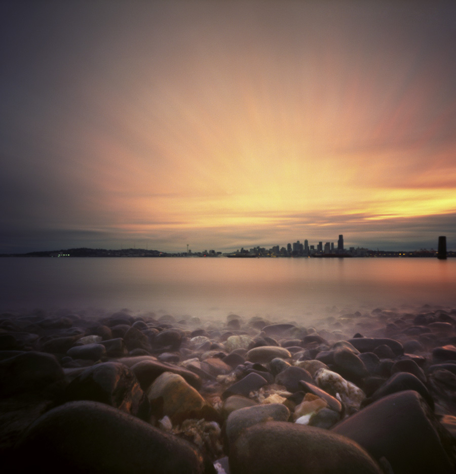 Seattle sunrise, camera nestled among the beach rocks. Zero Image 2000, Kodak Ektar 100.