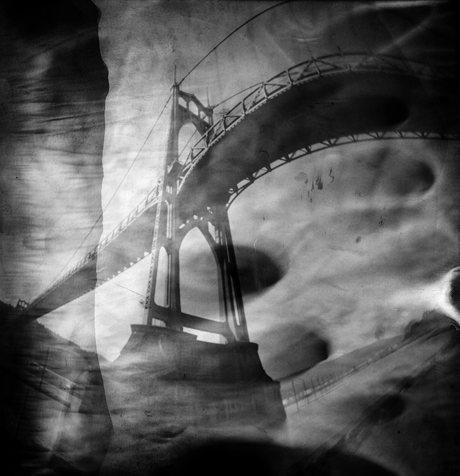 St. Johns Bridge, oatmeal container pinhole, 2 minutes
