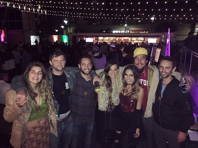 Rolling deep with my vibe tribe at @thegrandartique - epic evening of music, art, food at the @quartyardsd! -- all the feels 💜✨🔮🐾🦁🐺🐻🐢