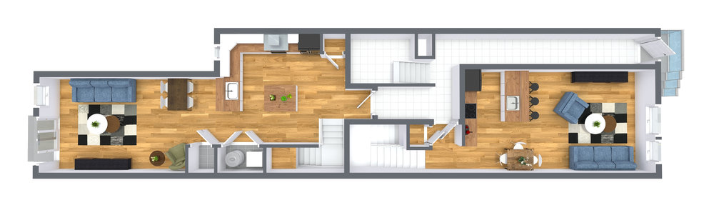 Level One - Bi-Level One Bedroom, One Full Bathroom + Den, 1,050 SqrFt. Bi-Level Two Bedroom, Two Full Bathroom, 1,225 SqrFt.