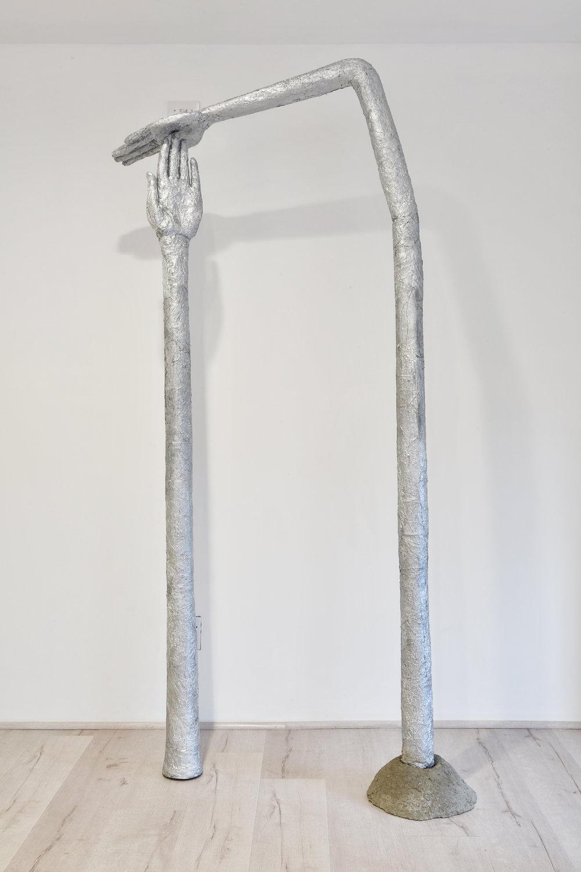 """Sarah Thibault, Time Out , 2017, Aluminum foil & concrete, 7' x 6' x 4"""""""
