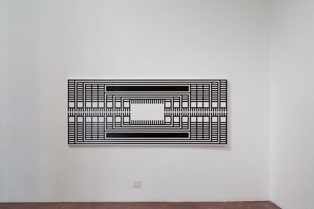 "Radio Stall , Scrimshawed Acrylic on Panel, 47"" x 109"" (Triptych), 2013"