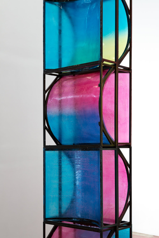 "Muted Triptych , basswood, fiberglass, pigment, 92"" x 28"" x 9,""2017"