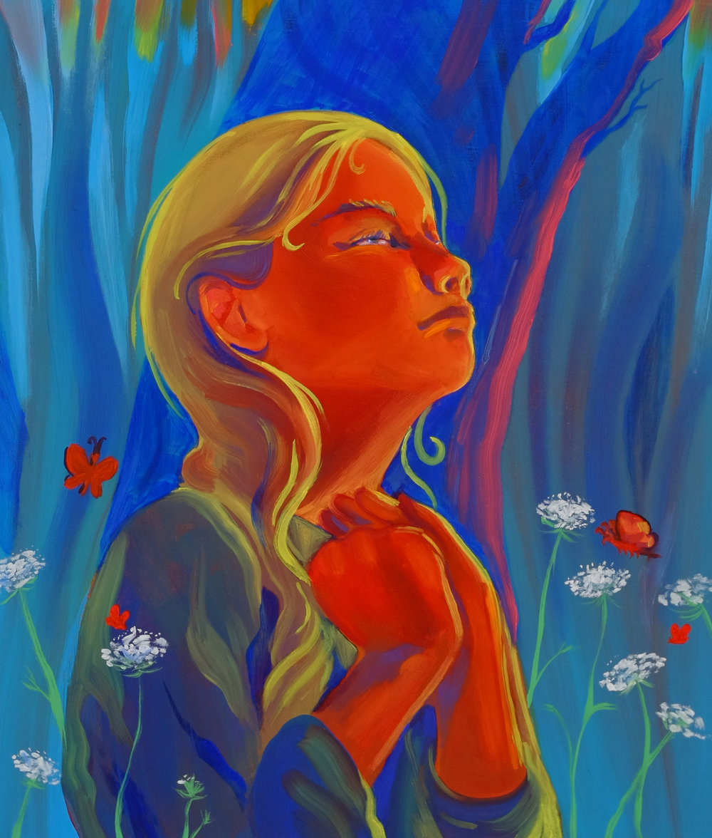"Haley Josephs,  Praying to the Sun / Praying to my Heart , 2017, Oil on canvas, 26"" x 22"""