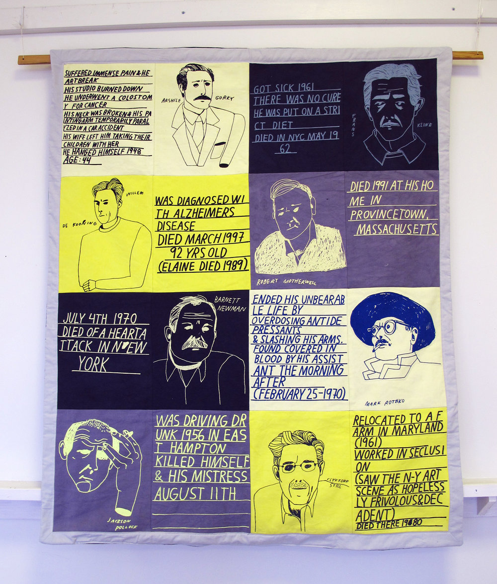 "Anna Nordstrom,  How did they die? , 2010, Screen print on cotton, 37"" x 57"""