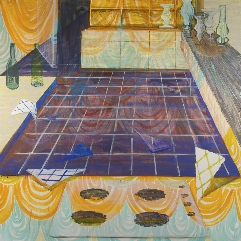 "Anna Schachte,  Night Kitchen,  2013, oil, enamel, canvas, 63"" x 63"""