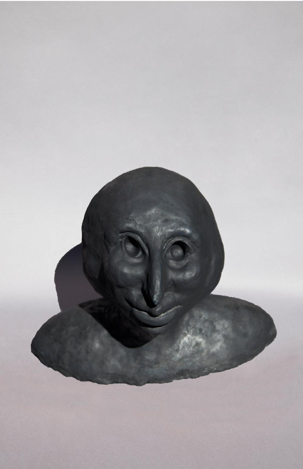 Talisman Series: Man Joking at Night, graphite on ceramic, 17.5HX21WX14D