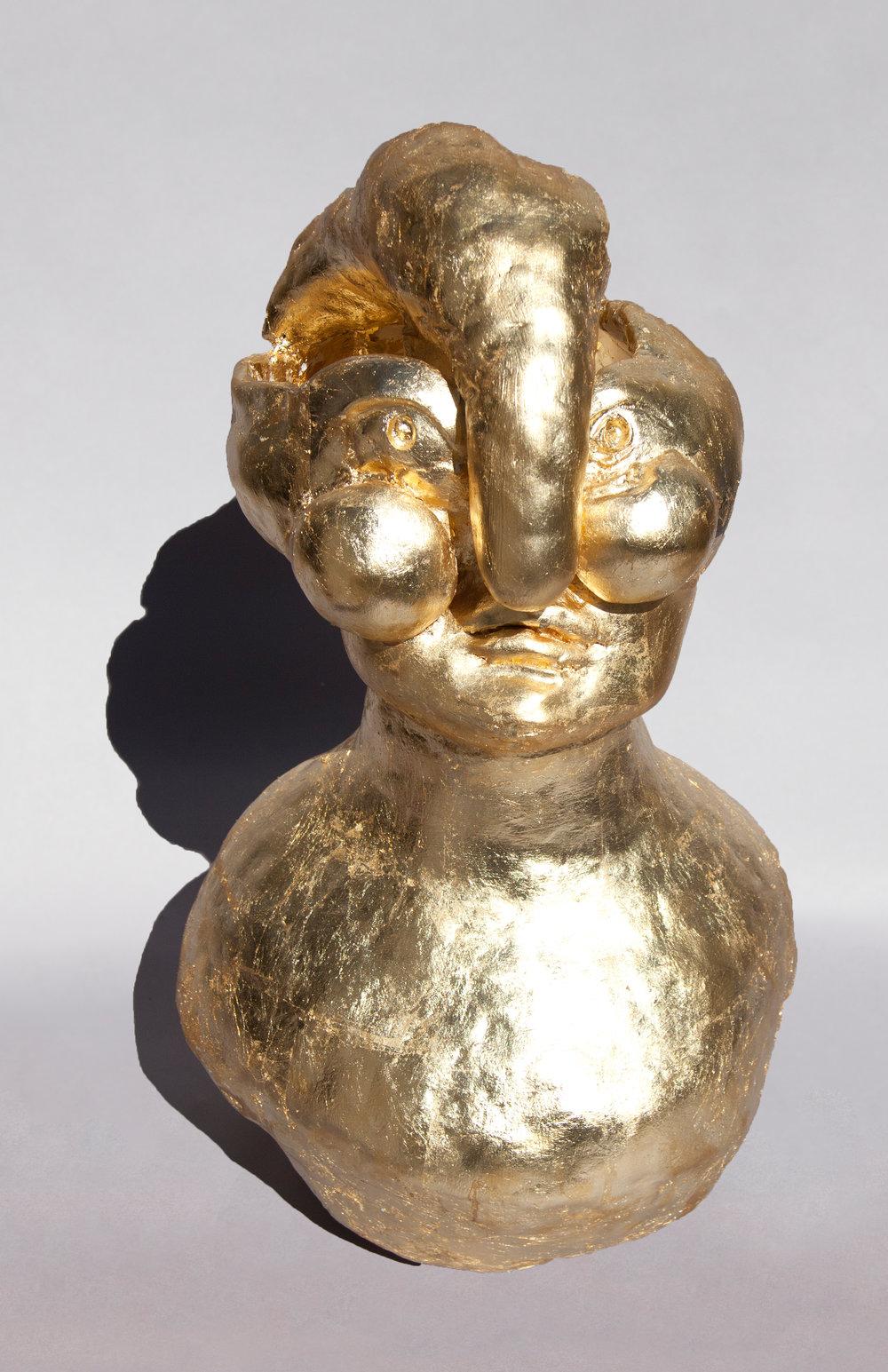 Gold Leaf Woman Talisman, Painted Ceramic, 2017 37HX20WX20D