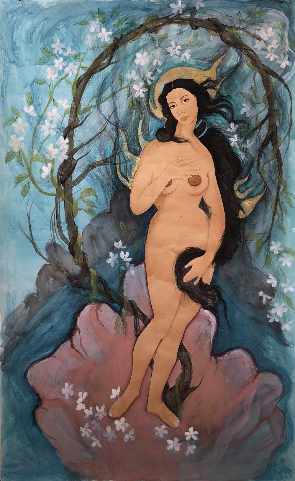 Hiba Schahbaz - Self Portrait as Burning Venus (after Botticelli)