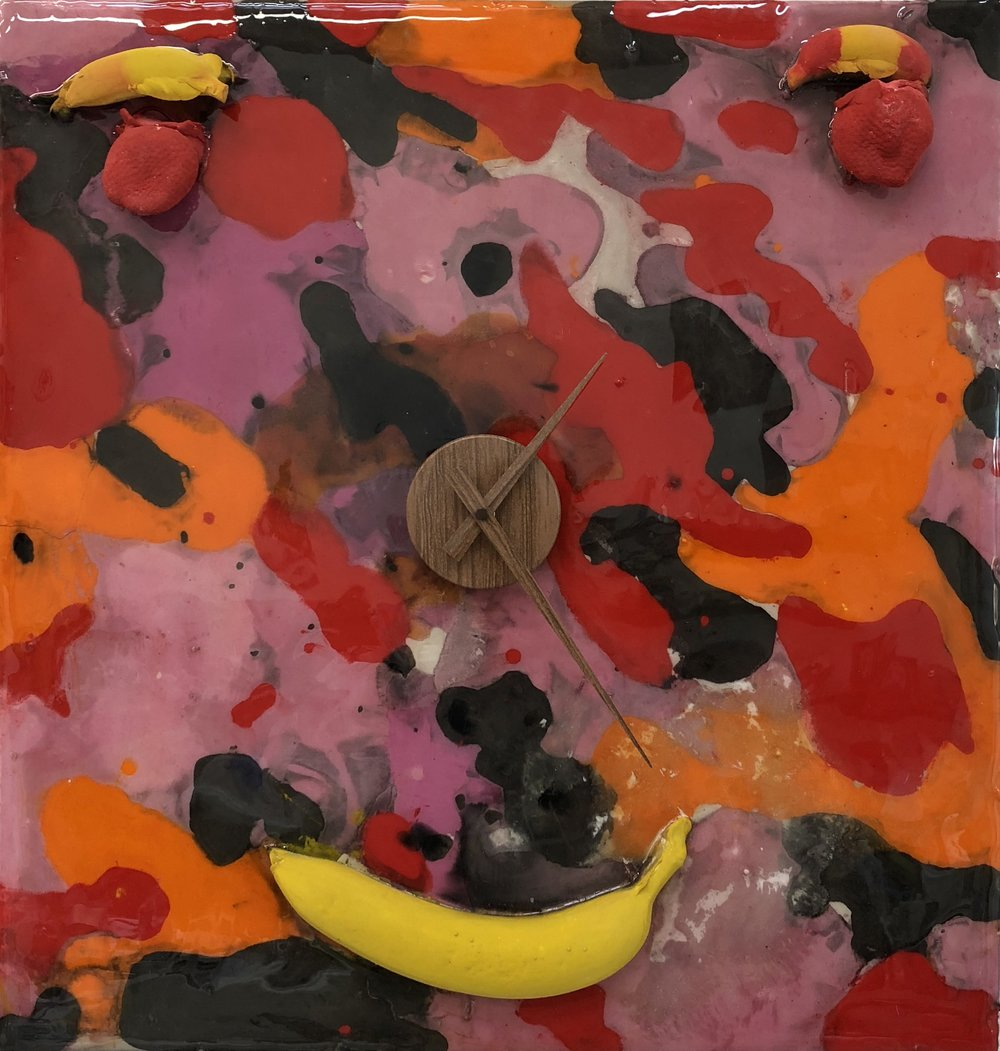 Elizabeth Ferry - Pink Fruit Face Camo Clock