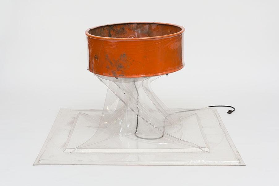 "Stephen Neidich, Helium, 2018, PETG Plastic, Box Fan, 48"" x 48"" x 28.5"""