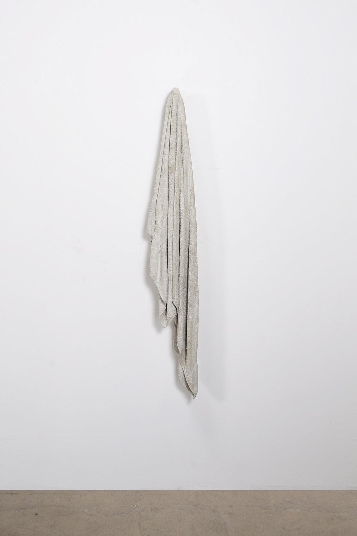 "Steve Hash, ""Towel I,"" Concrete, fabric, marble, 44"" x 10"" x 7"""