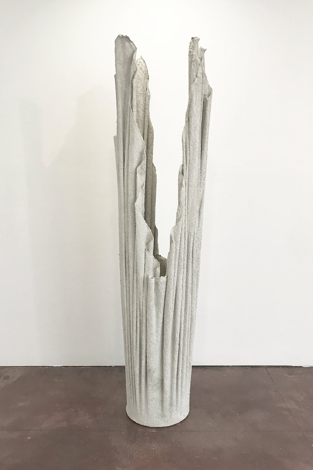 "Steve Hash, ""Chamber III"", Concrete, fabric, glass mirror, 72"" x 18"" x 18"""