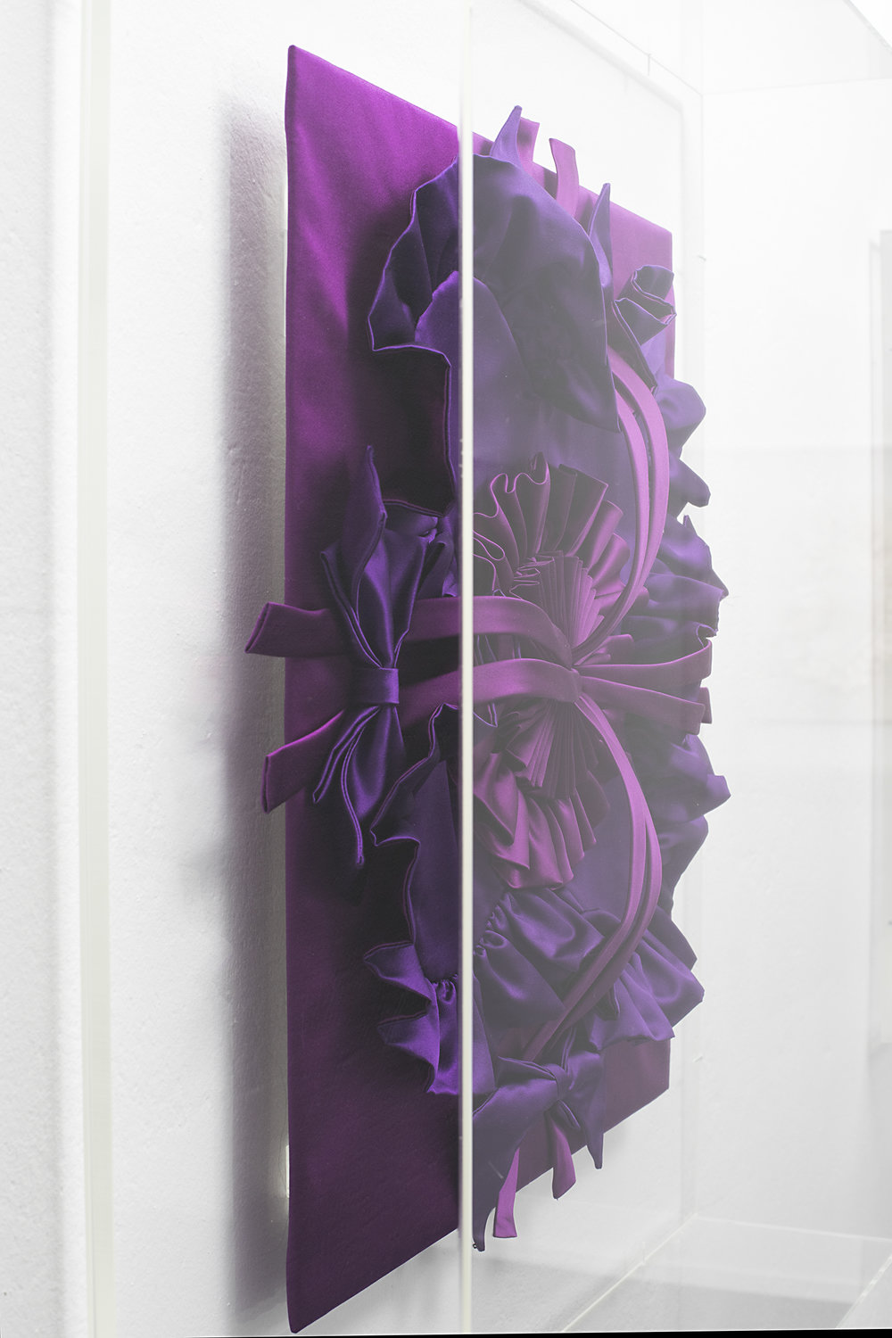 Detail of Gabriella Loeb,  quadratura,  silk satin, plexiglass 61 x 66 x 14 cm