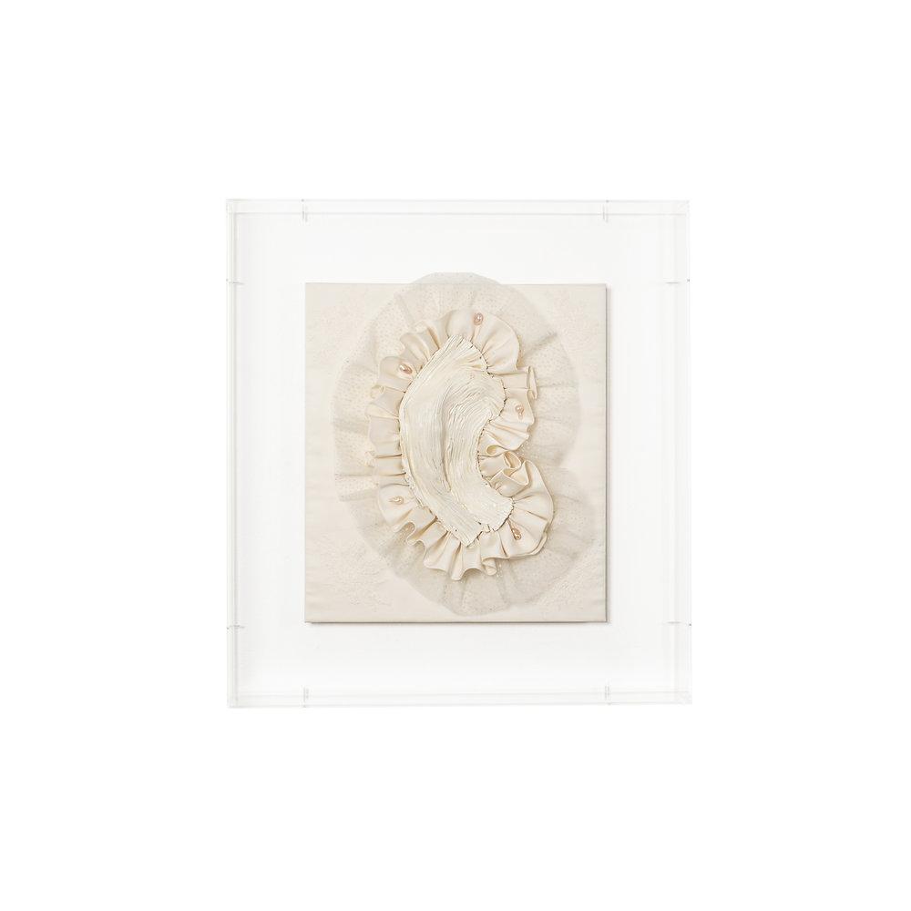Gabriella Loeb,  relic,  silk satin, lace, baroque pearls, plexiglass 61 x 66 x 14 cm