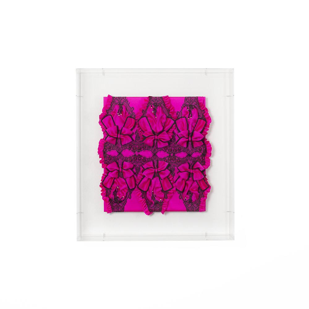 Gabriella Loeb,  teaser,  silk satin, lace, plexiglass 61 x 66 x 14 cm