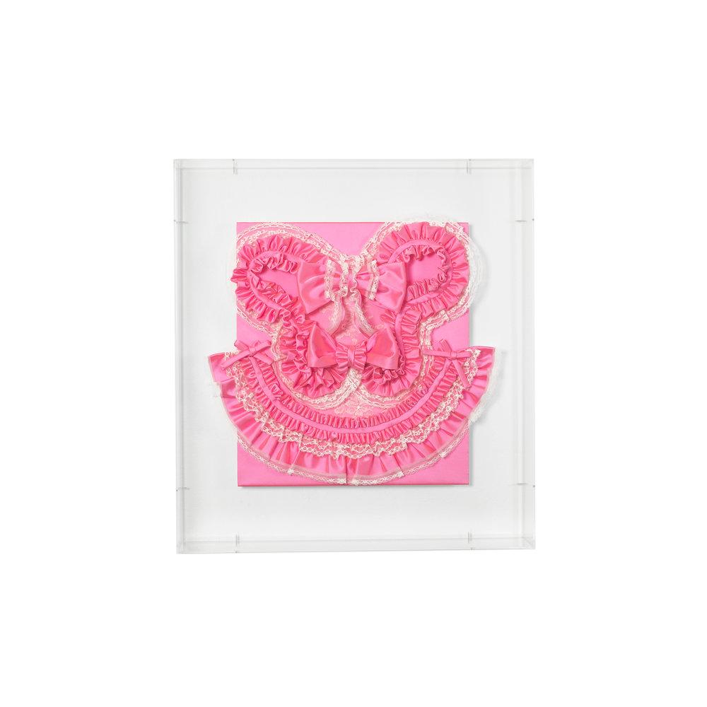 Gabriella Loeb,  trigger happy , silk satin, lace, plexiglass 61 x 66 x 14 cm