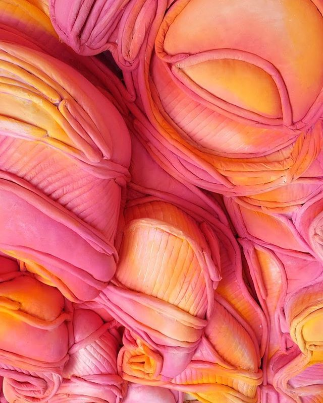"Detail of Lilah Slager Rose Up On the Sun 45"" wide x 13"" deep x 62"" tall 2018 #lilahslagerrose #avalon #hilde #sculpture #softsculpture #starburst"