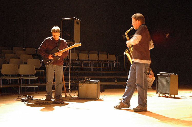 Performing with Kier Neuringer at Atlantic Center for the Arts, 2005.
